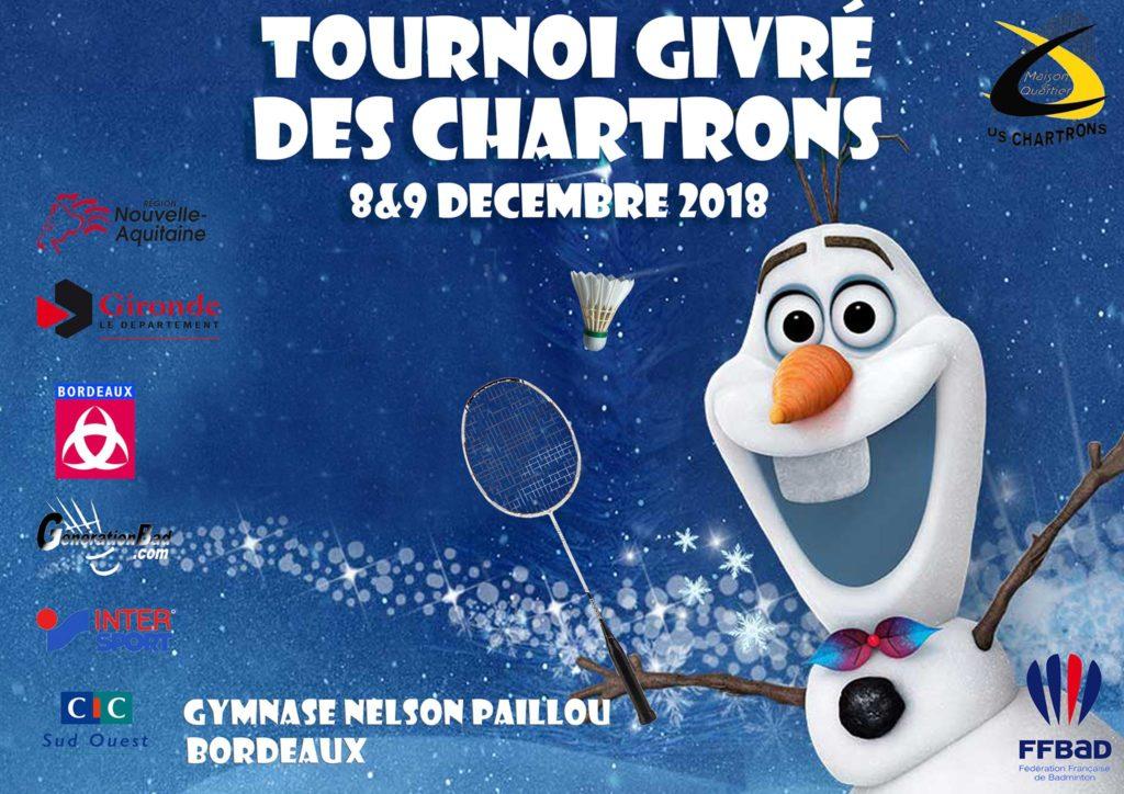 Affiche du tournoi givré des chartrons de 2018 : Fond bleu avec le personnage Olaf qui tiens une raquette dans les maine et qui sourie