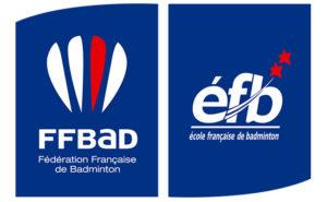 Logos bleu et blanc de la FFBAD et éfb