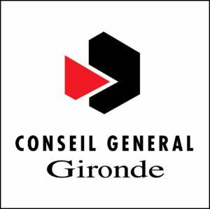le logo du conseil général de Gironde : Un triangle rouge qui s'imbrique dans un octogone noir