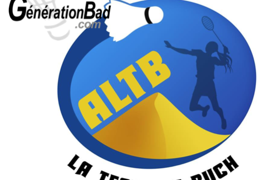 Logo avec la dune du Pila et un joueur de badminton avec le texte ALTB