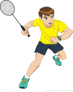Dessin d'un jeune joueur de badminton