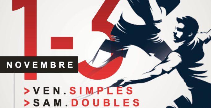 affiche tournoi mérignac : dessin de deux joueurs de badminton en noir et blanc