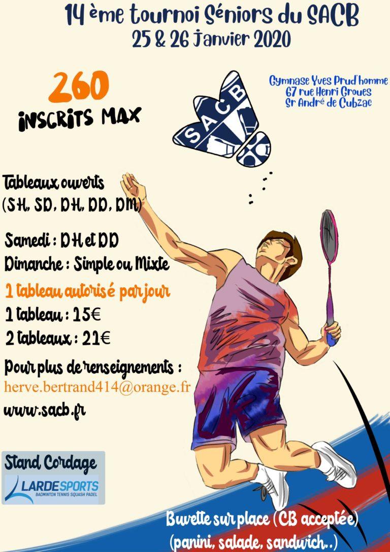 affiche du tournoi 2020 de St andré de Cubzac