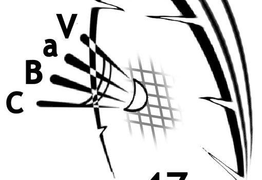 dessin d'une raquette de badminton frappant un volant avec l'inscription CBAV 47 Villeneuve sur Lot