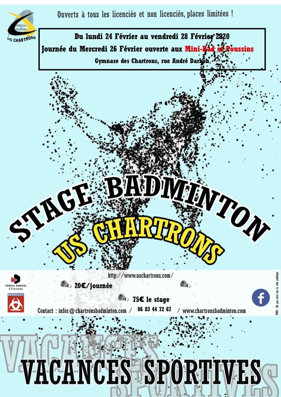 Une affiche bleu avec en fond un joueur de badminton et devant écrit stage badminton us chartrons