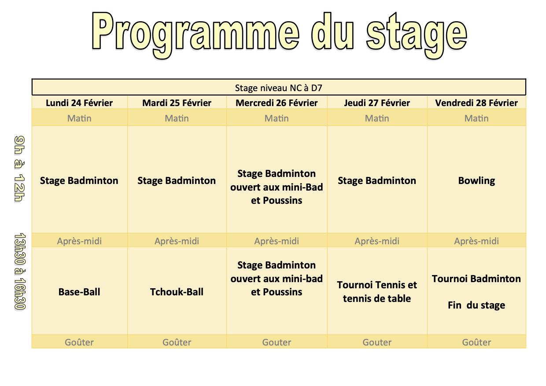 Planning Stage Badminton février 2020