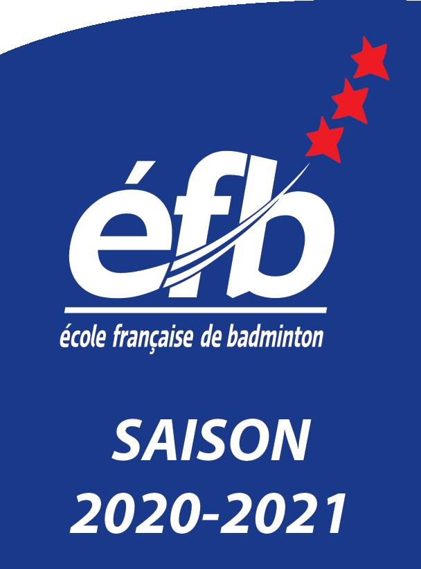 Logo avec efb écrit en blanc sur un fond bleu avec 3 étoiles rouges