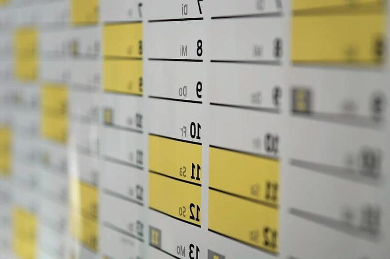Photo d'une partie d'un calendrier