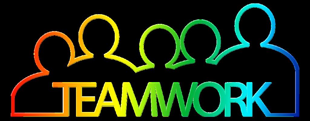 dessin multicolore du contour de personnes cote à cote avec le texte teamwork.